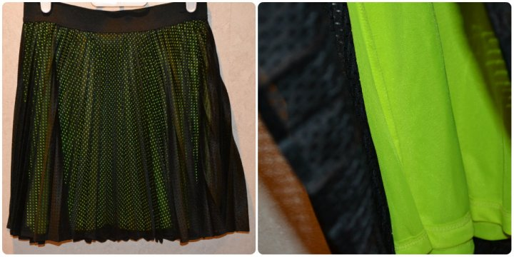 The lining of the skirt is neon and peeps through the pleated overlay for a subtle touch of color.