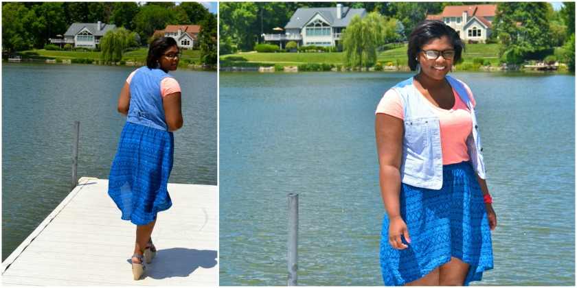 On Ashley: Forever21 Shirt, Ann Taylor (thrifted) Vest, Target Skirt, and Dillards Shoes