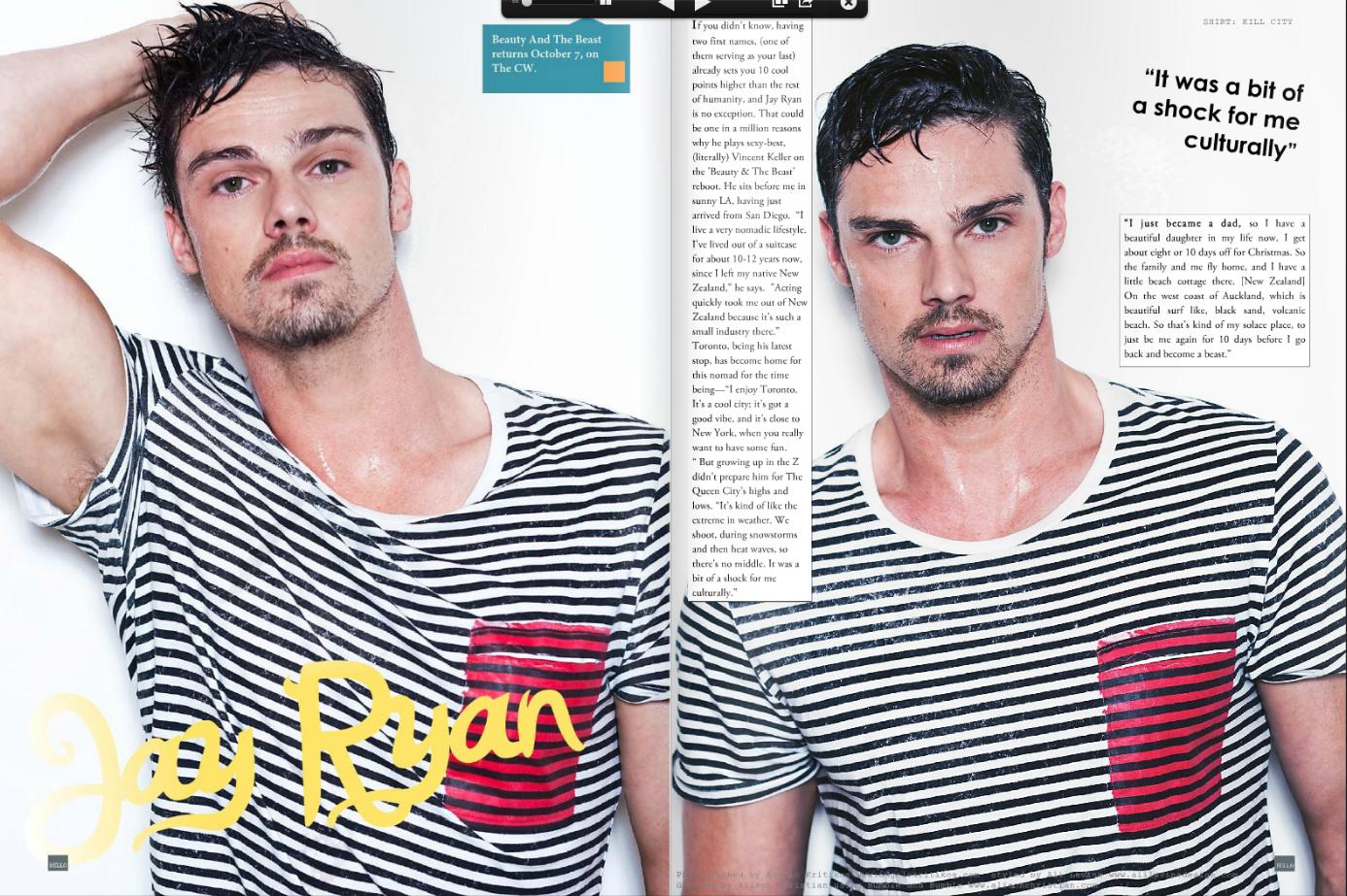 Jay Ryan in Bello Magazine  September Issue