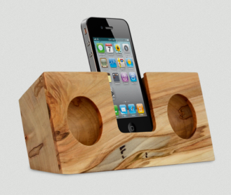 Not only is this iPhone speaker great to look at, and would be an amazing home accessory, but it will also play your favorite tunes! This a great gift for Dad. $95 http://www.koostik.com/products/ambrosia-maple-original
