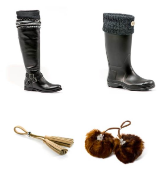 Revive a pair of basic boots with accessories made just for them! Hugrz are a practical way to accessorize your boot and make them stylish. They slip right into the boot so that you can wear your favorite boots over and over again but with a new look each time. They also create fun accessories that complement your Hugrz for your everyday boot. $9-16 http://www.hugrz.com