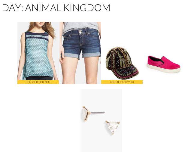 This outfit is the next step up from jeans and a t-shirt without sacrificing comfort. Opt for an easy, breezy tank in a fun print and pair with your favorite denim shorts. A baseball cap keeps the sun out of your face (how cool is that giraffe print? Perfect for the Animal Kingdom!) and allows for minimal hair styling.