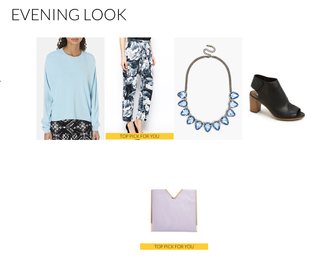 Another option for an evening look begins with a bold printed crop pant. Sticking with the blue in the pant, I chose a lighter shade for a sweater (it tends to get chilly at night) as well as a bib necklace in an ice-blue tone. The lavender clutch juxtaposes the blue, but compliments it all the same.