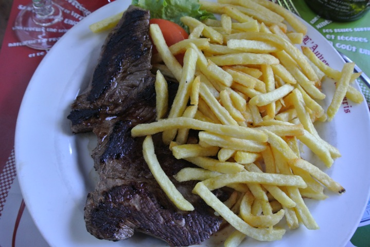 Steak Frites was what I ate for our first meal in Paris. It ended up being a popular favorite among a couple of my friends (one of them is a vegetarian).