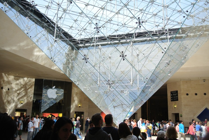 Inside of the Louvre, outside the entrance to the actual exhibits.