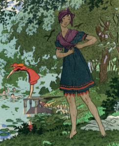 p. 187 - Pierre Brissaud, La Gazette du Bon Ton, hand-coloured pochoir, 1914