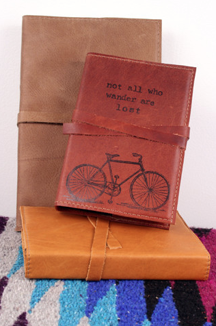 $25 Handmade Leather Journal http://shop.inbluehandmade.com/collections/journals/products/bicycle-travlers-journal#.VlqNp3gi238