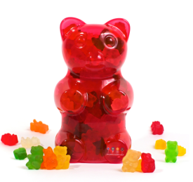 $24 Filled Gummy Bear https://www.dylanscandybar.com/Dylans-Candy-Bar-Filled-Gummy-Bear-Container-Red-8810.html
